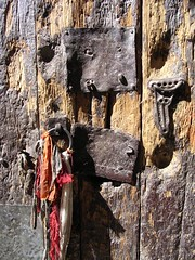 Detail from monastery door (sunsnake159) Tags: gompa sakya