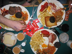 gut busters (lomokev) Tags: food english breakfast tomato bread bacon cafe beans brighton tea fucking burger egg sausage chips full friedegg bakedbeans fryup fiance kageyb blackpudding fianc fullenglish breaky friedbread gutbuster rockcakes rockcake gutbusterspecial fileimg6649 flickr:user=kageyb fullfuckingenglish