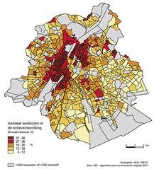 Kaart Brussel: werkloosheid