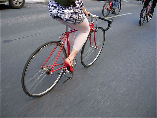 red high heels to match your bike of course