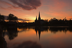 Lichfield Cathedral at Sunset - by paulwoolrich