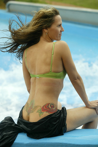 Sexy Women Bikini with Roses Tattoo