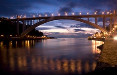 Arrabida bridge (2) (trazmumbalde) Tags: bridge sunset sky portugal night clouds reflections river lights europe porto douro jesters longshot challengeyouwinner abigfave magicalskiesmick