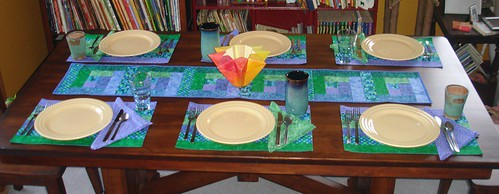 ocean table                         set - blue green geo 1