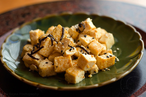 sesame tofu with nori and gomaiso