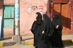 Little Black Dress (hazy jenius) Tags: black women village veil muslim islam egypt middleeast hijab nile niqab edfu burka khimar