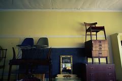 higher learning (helveticaneue) Tags: november yellow furniture wideangle 2006 chalkboard blackboard stacked oldclassroom kulpsville kulpsvillefleaantiquemarket fleamarkethousedinanoldschool