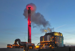 Red Hot and Smoking (digicla) Tags: red chimney sunrise power pipe powerplant rood stroom schoorsteen epon nuon electrabel