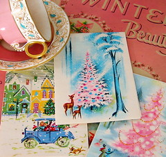 Vintage Christmas Cards (Picnic by Ellie) Tags: christmas pink vintage cards greeting