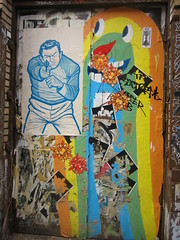 (C-Monster) Tags: door nyc streetart newyork pasteup graffiti manhattan soho gunman matthewrodriguez candyfactory advancedsilhouettesp83a