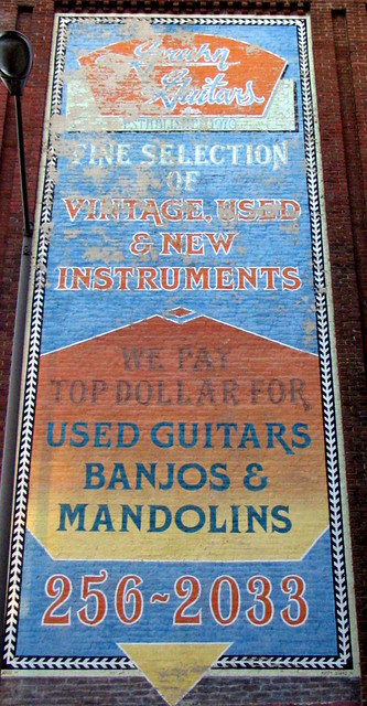 Gruhn Guitars hand-painted sign