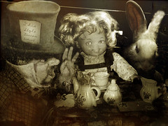 This Style Discontinued (crowolf) Tags: selfportrait me sepia vintage toy toys hare doll dolls alice madhatter teaparty aliceinwonderland dormouse fauxvintage strangevintagefictions crowolf