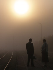the sunrise. (pimpa.) Tags: morning sun topf25 station fog train sunrise pair poland polska railway polish polen conversation tory paulina mgla slonca wschod preiss rozmowa kolejowa stacja abigfave wiezyca goldstaraward cytrynova