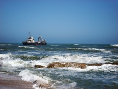 Stranded ship between Walvis Bay and Swakopmund