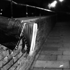 Nightshoot (LaurenceTucker) Tags: london feet lamp wall thames night photography pub path trainers hammersmith jeans sodium lean utatainhalf