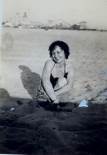 Nanny at the beach, 1930's