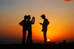 Silhouette- three friends (jkairvar) Tags: sunset orange sun india topf25 silhouette portraits top20sunrisesunset fullhouse abigfave httpstaticflickrcom107257032952d2aa19958fmjpgsky hspoker
