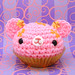 Amigurumi Pink cupcake with orange flowers