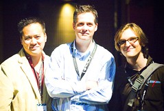 Jeremiah Owyang, Brian Oberkirch, and Kristopher Tate (Thomas Hawk) Tags: sanfrancisco california city friends usa signs men pen women unitedstates id unitedstatesofamerica card palaceoffinearts marinadistrict brianoberkirch futureofwebapps zooomr kristophertate jeremiahowyang
