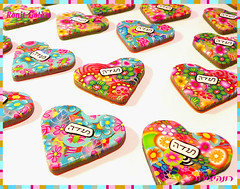 """Thank You"" Heart Magnets - close up (Ronit golan) Tags: cane studio magnets polymerclay fimo clay accessories decor ronit golan polymer millefiori premo millefiore ceramicaplastica ronitgolan"