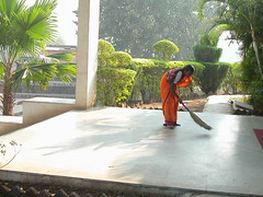 Mahavihara early morning sweeping