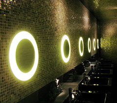 Mosaic (Supermietzi) Tags: glitter night munich mnchen bathroom gold lights hotel design licht mosaic circles fliesen style toilette wc tiles restroom glam ladiesroom sofitel lichter lampen mosaik kreise supermietzi interiourdesign