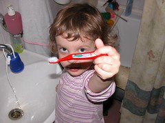 Deena & the new toothbrush