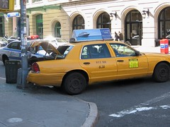 Taxi Backs into Light Pole -OOPS! (buff_wannabe) Tags: nyc accident taxi police nypd policecar damage oops