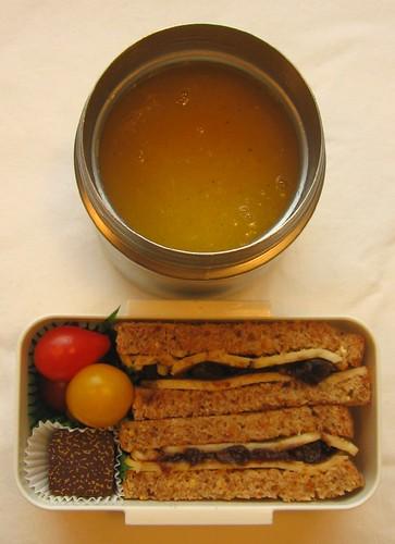 Sandwich & pumpkin soup lunch