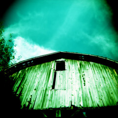 Barn (G0Da) Tags: wood old blue sky green 120 film clouds barn vintage back holga sticks aqua cross michigan wear worn medium format roads boonies process bfe abandond weatherd erda xpros filmisnotdead