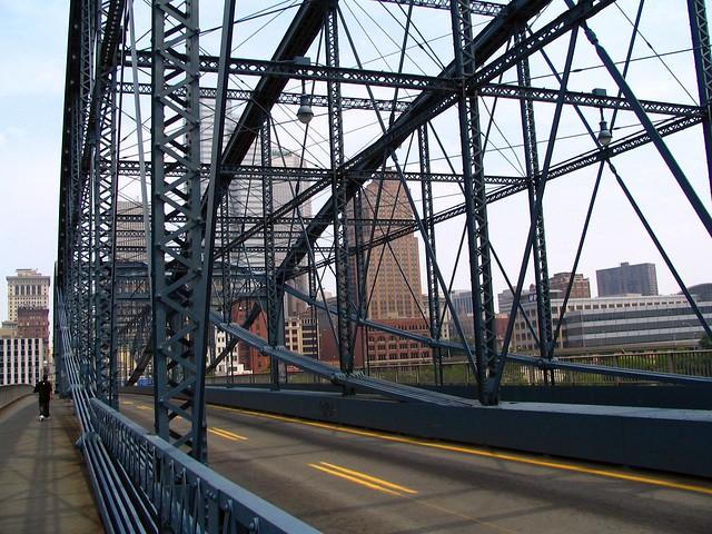 crossing the Smithfield Street Bridge, Pittsburgh