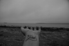 wrist tattoo writing Lake Huron, November.