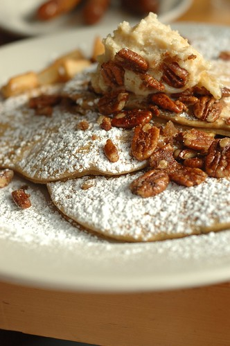 Pumpkin pancakes with ginger mascarpone and candied pecans