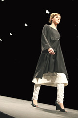 Black Wool Button Dress with Quilted Underskirt and Rouched Cotton Leggings