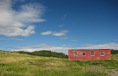 Salvage (dacardoso) Tags: red grass tag3 taggedout newfoundland tag2 tag1 shed salvage