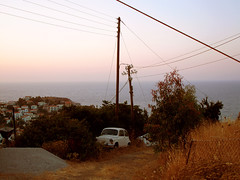Ikaria 328 (isl_gr (Mnesterophonia)) Tags: car port island town junk october mediterranean hiking ikaria icaria  trails greece yugo rubble zastava ege evdilos    ikarianenigma hikingdownfromthehills