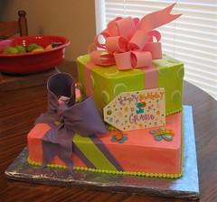 Gracie's 1st Bday (mandotts) Tags: pink green purple bees butterflies polkadots birthdaycake ribbon bows 1stbirthday gifttag girlsbirthday presentcake sugarbows