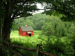 Red Barn (ilina s) Tags: trees red green nature grass barn fence happy daylight day bright frame depth colorphotoaward flickrchallengegroup flickrdiamond ilinas cottonsunday