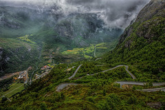 Lysebotn (Siggi007) Tags: nature norway norwegen noruega panorama paysage road curves scenery green landscape landschaft fog mist rain trees mountains mountainsides lysebotn kjerag tourism view weather europa travel uniq outdoor amazing awesome scandinavia farben colors canoneos6d clouds contrasts vieux valley village norge mood mountain field plant waterfall hill grass farms details