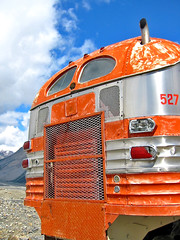 Old Greyhound (henx fotojam) Tags: orange canada bus car fifties columbia icefield