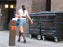 Space Invader LDN_09 (tofz4u) Tags: london streetart invader spaceinvader spaceinvaders nealstreet ldn009 mosaïque mosaic tile street rue people passant poubelle trashbin girl fille woman sexy minijupe skirt ldn09
