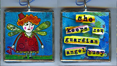 She Keeps Her Guardian Angel Busy (allisonstrinedesigns) Tags: bird art collage altered children fun whimsy folkart artistic folk outsider mixedmedia grunge funky charm licenseplate soul etsy naive childish naiveart grungy innerchild repurposed primitive allisonstrine