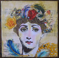 Fornasetti floral feathers (HollyLovesArt) Tags: bird art girl collage mixed media crystals feathers butterflies mini fornasetti