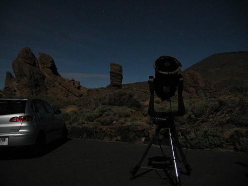 Teide de noche + telescopio