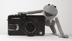 introducing... (Littopillo) Tags: camera bw hk digital hongkong panasonic muppet kermit kermitthefrog lx2