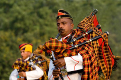 Bagpiper of Indian Army (Captain Suresh Sharma) Tags: travel red music india holiday playing heritage infantry soldier army photography photo team uniform asia play display culture blowing cap marching bagpiper headgear indianarmy