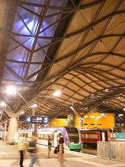 Southern Cross Station, Melbourne, at night 4th Oct 2006 (moonflowerdragon) Tags: station yellow architecture night train photo waiting purple platform australia melbourne trains victoria vic aus vline southerncrossstation