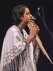 Andrew Mellado on zamponas (Magickman) Tags: 2002 musicians andrew sarawak mellado rwmf rainforestworldmusicfestival inkamarka zamponas