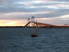 Newport @ sunset (Lara Mercer Photography) Tags: ri bridge pink blue sunset color yellow island highlights newport rhode scoopt