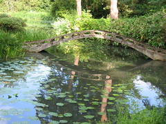 Bridge Reflections (KirscheTortschen) Tags: uk bridge reflection water nationaltrust lilypad tattonpark favoritegarden